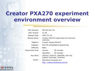 Creator PXA270 experiment environment overview