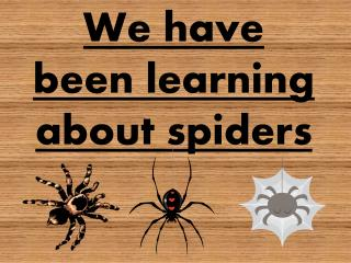We have been learning about spiders