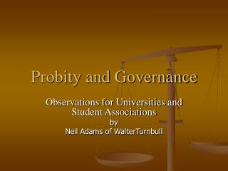 Probity and Governance
