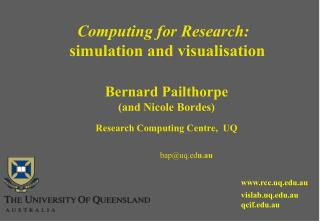 Computing for Research: simulation and visualisation