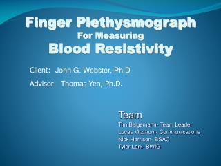 Finger Plethysmograph For Measuring Blood Resistivity