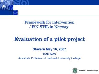 Framework for intervention  / FiN STIL in Norway: Evaluation of a pilot project