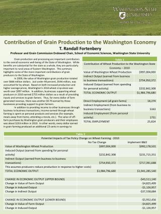 Contribution of Grain Production to the Washington  Economy T. Randall Fortenbery