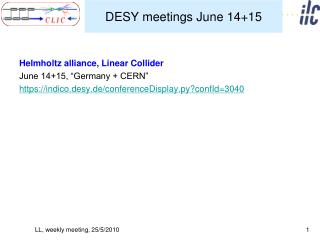 DESY meetings June 14+15