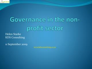 Governance in the non-profit sector