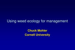 Using weed ecology for management