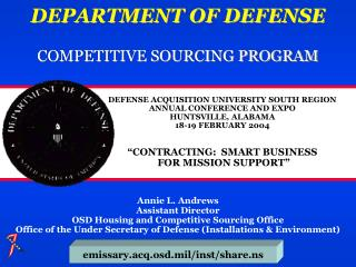 DEPARTMENT OF DEFENSE COMPETITIVE SOURCING PROGRAM