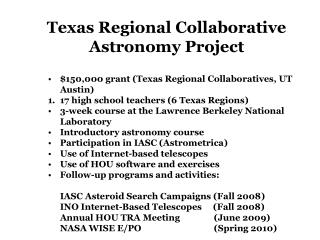 $150,000 grant (Texas Regional Collaboratives, UT Austin)