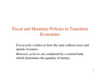 Fiscal and Monetary Policies in Transition Economies