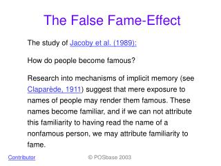 The False Fame-Effect