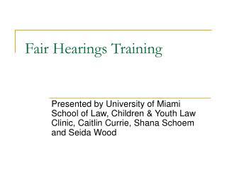 Fair Hearings Training