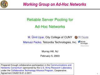 Working Group on Ad-Hoc Networks