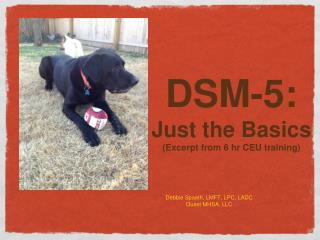 DSM-5:   Just the Basics ( Excer p t  from 6 hr CEU training)