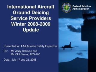 International Aircraft Ground Deicing Service Providers  Winter 2008-2009 Update