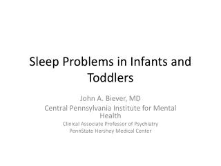 Sleep Problems in Infants and Toddlers