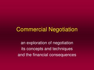 Commercial Negotiation