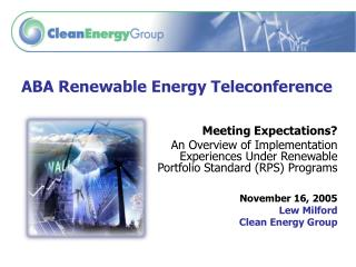 ABA Renewable Energy Teleconference