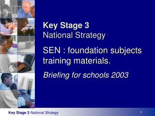 Key Stage 3 National Strategy SEN : foundation subjects training materials. Briefing for schools 2003