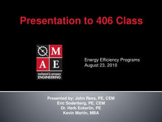Energy Efficiency Programs August 23, 2010