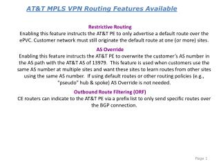 AT&T MPLS VPN Routing Features Available