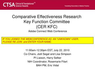PPT - Comparative Effectiveness Research Key Function Committee (CER