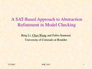 A SAT-Based Approach to Abstraction Refinement in Model Checking