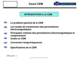 INTRODUCTION A LA CEM