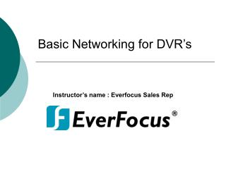 Basic Networking for DVR's