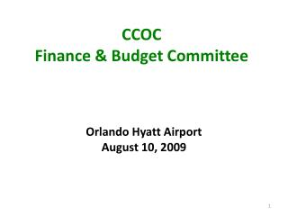 CCOC                                                   Finance & Budget Committee