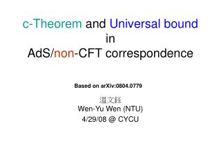 c-Theorem  and  Universal bound  in  AdS/ non -CFT correspondence