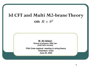 3d CFT and Multi M2-brane Theory                         on
