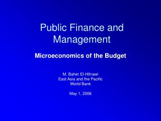 Public Finance and Management
