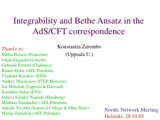 Integrability and Bethe Ansatz in the AdS/CFT correspondence