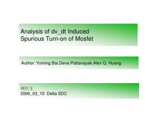 Analysis of dv_dt Induced  Spurious Turn-on of Mosfet
