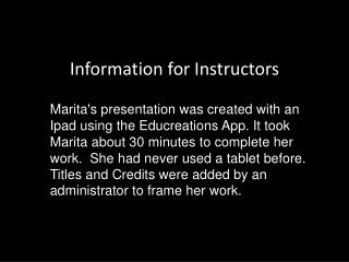 Information for Instructors