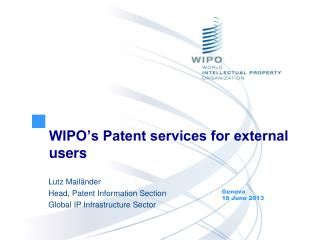 WIPO's Patent services for external users