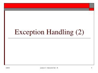 Exception Handling (2)
