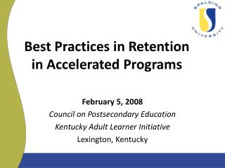 Best Practices in Retention  in Accelerated Programs