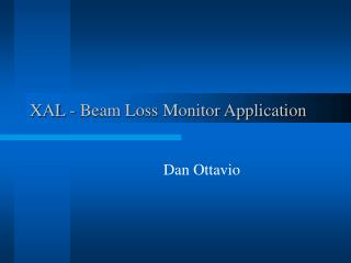 XAL - Beam Loss Monitor Application