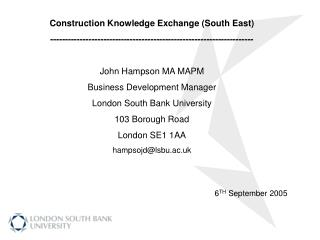 Construction Knowledge Exchange (South East)