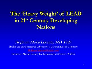 The 'Heavy Weight' of LEAD in 21 st  Century Developing Nations