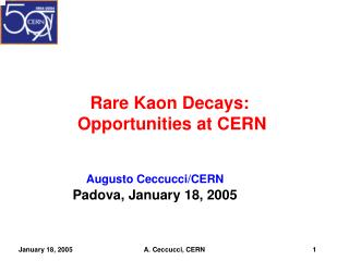 Rare Kaon Decays:  Opportunities at CERN