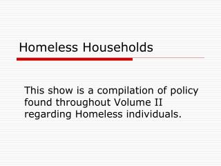 Homeless Households