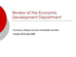 Review of the Economic Development Department