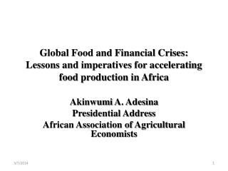 Global Food and Financial Crises:  Lessons and imperatives for accelerating food production in Africa