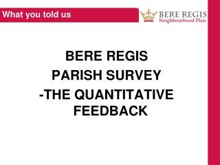 BERE REGIS PARISH SURVEY -THE QUANTITATIVE FEEDBACK