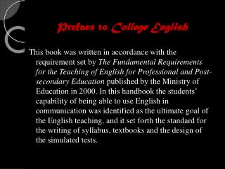 Preface to  College English