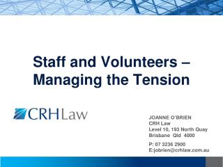 Staff and Volunteers – Managing the Tension