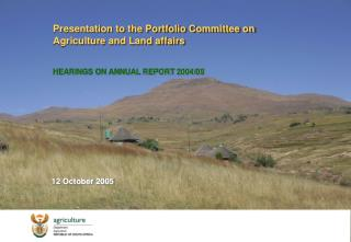 Presentation to the Portfolio Committee on Agriculture and Land affairs