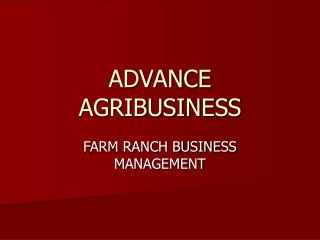 ADVANCE AGRIBUSINESS